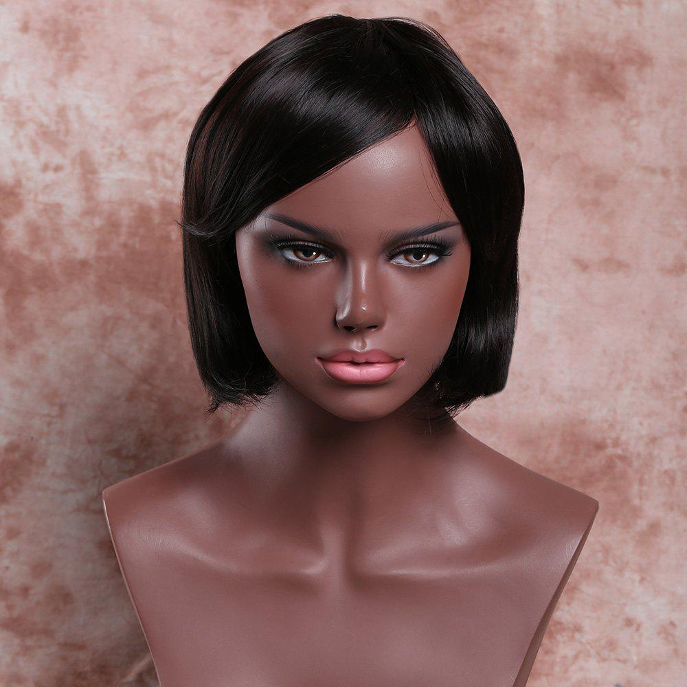 Women's Short Side Bang Deep Brown Straight Ladylike Synthetic Hair Wig - DEEP BROWN