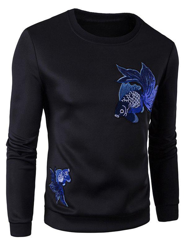 Fish Embroidered Patch Pullover SweatshirtMen<br><br><br>Size: M<br>Color: BLACK