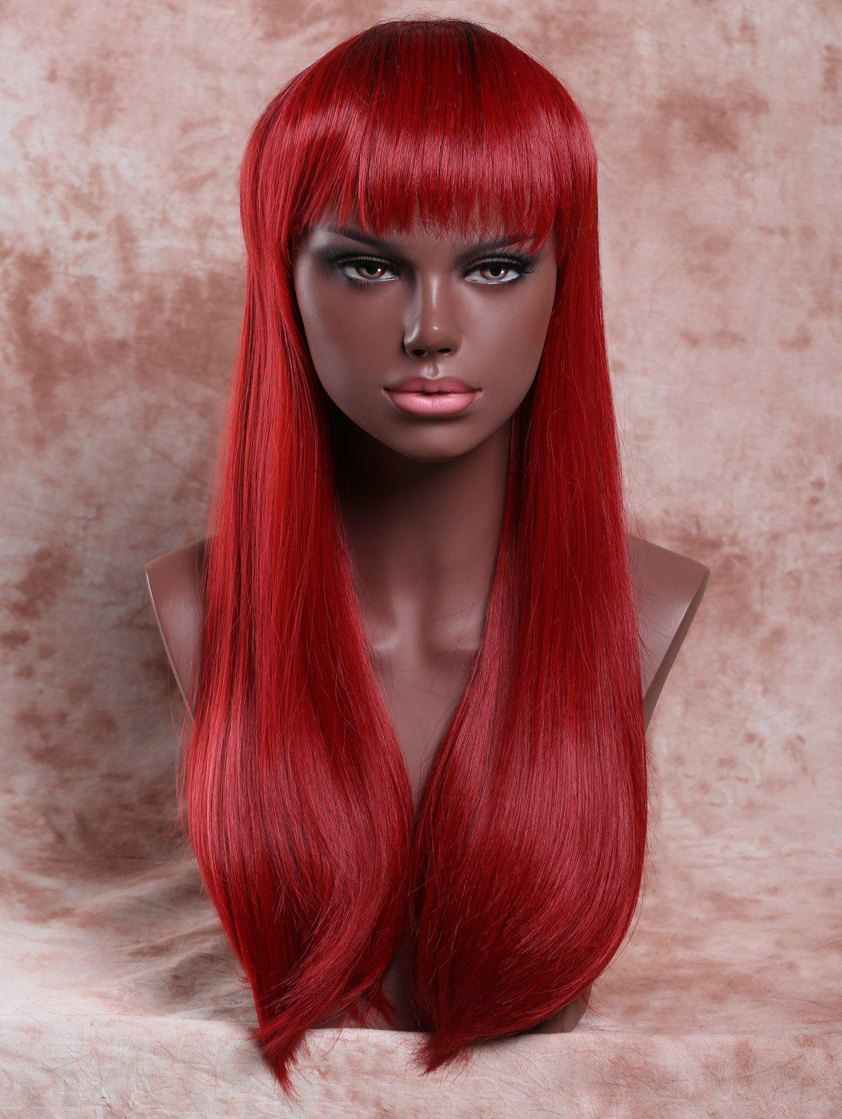 Elegant Women's Long Full Bang Straight Ombre Color Synthetic Hair Wig glueless silk top full lace wig ombre 100% human hair peruvian ombre color silk top full lace wig 4 4