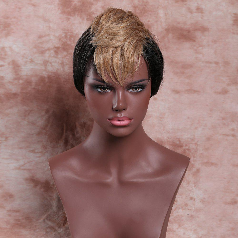 Women's Short Fluffy Full Bang Light Brown Mixed Black Charming Synthetic Wig - COLORMIX