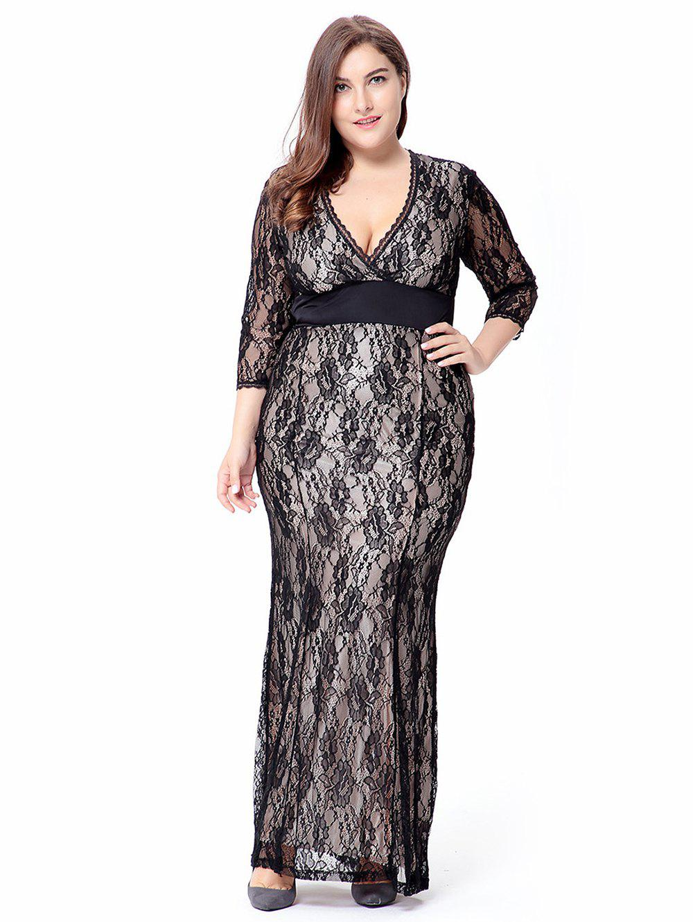 Empire Waist Plus Size Lace Bodycon Dress With SLeeves ноутбук dell vostro 5568 5568 3010 5568 3010