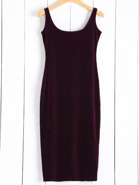 Straps Velvet Dress - WINE RED ONE SIZE