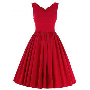 Scalloped A Line Pleated Party Skater Dress