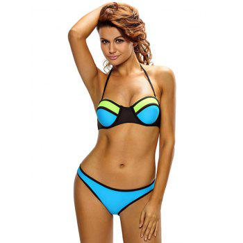Sexy Strapless Color Block Push Up Women's Bikini Set - BLUE S