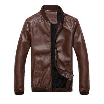 Flocking Side Pocket Zip Up Faux Leather Jacket