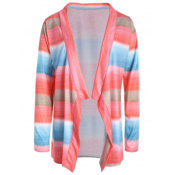 Stylish Collarless Long Sleeve Asymmetrical Color Block Women's Cardigan