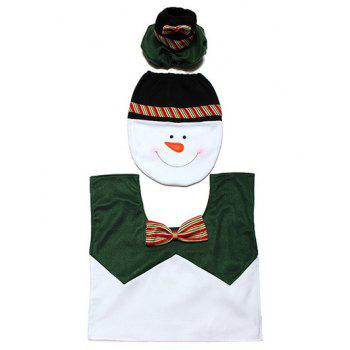 3PCS Christmas Snowman Pattern Toilet Seat Cover Set