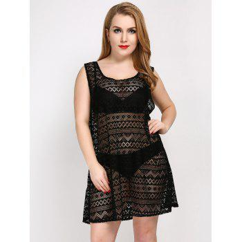 Plus Size See Thru Cover Up Beach Dress - BLACK ONE SIZE