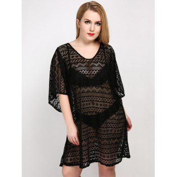 Plus Size Backless Cover Up Dress - BLACK ONE SIZE