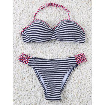 Halter Braided Striped Bikini Set