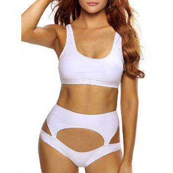 Stylish Women's U-Neck White Hollow Out Bikini Set