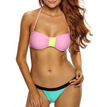 Sexy Halter Sleeveless Color Block Low-Waisted Women's Bikini Set