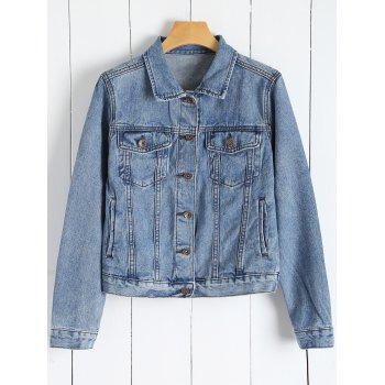 Button Up Denim Jacket With Pockets