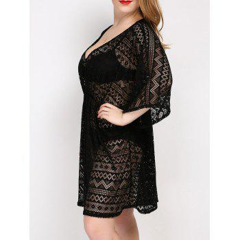 Plus Size V Neck Tunic Dress Cover Up - BLACK ONE SIZE