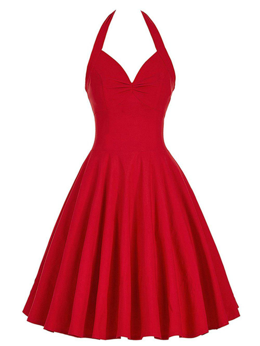 Lace-Up Halter Corset Dress - RED L