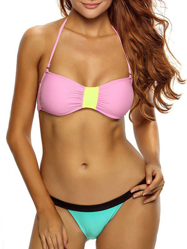 Sexy Halter Sleeveless Color Block Low-Waisted Womens Bikini SetWomen<br><br><br>Size: S<br>Color: PINK