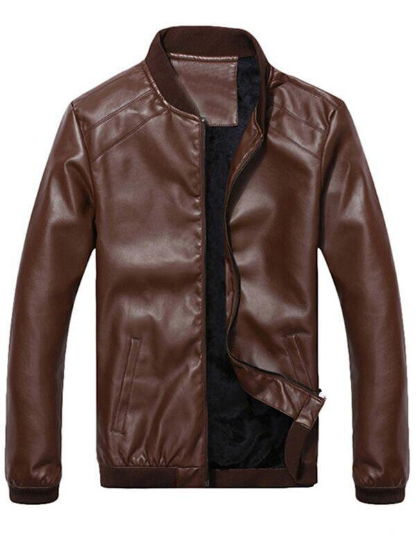 Flocking Side Pocket Zip Up Faux Leather Jacket - COFFEE L