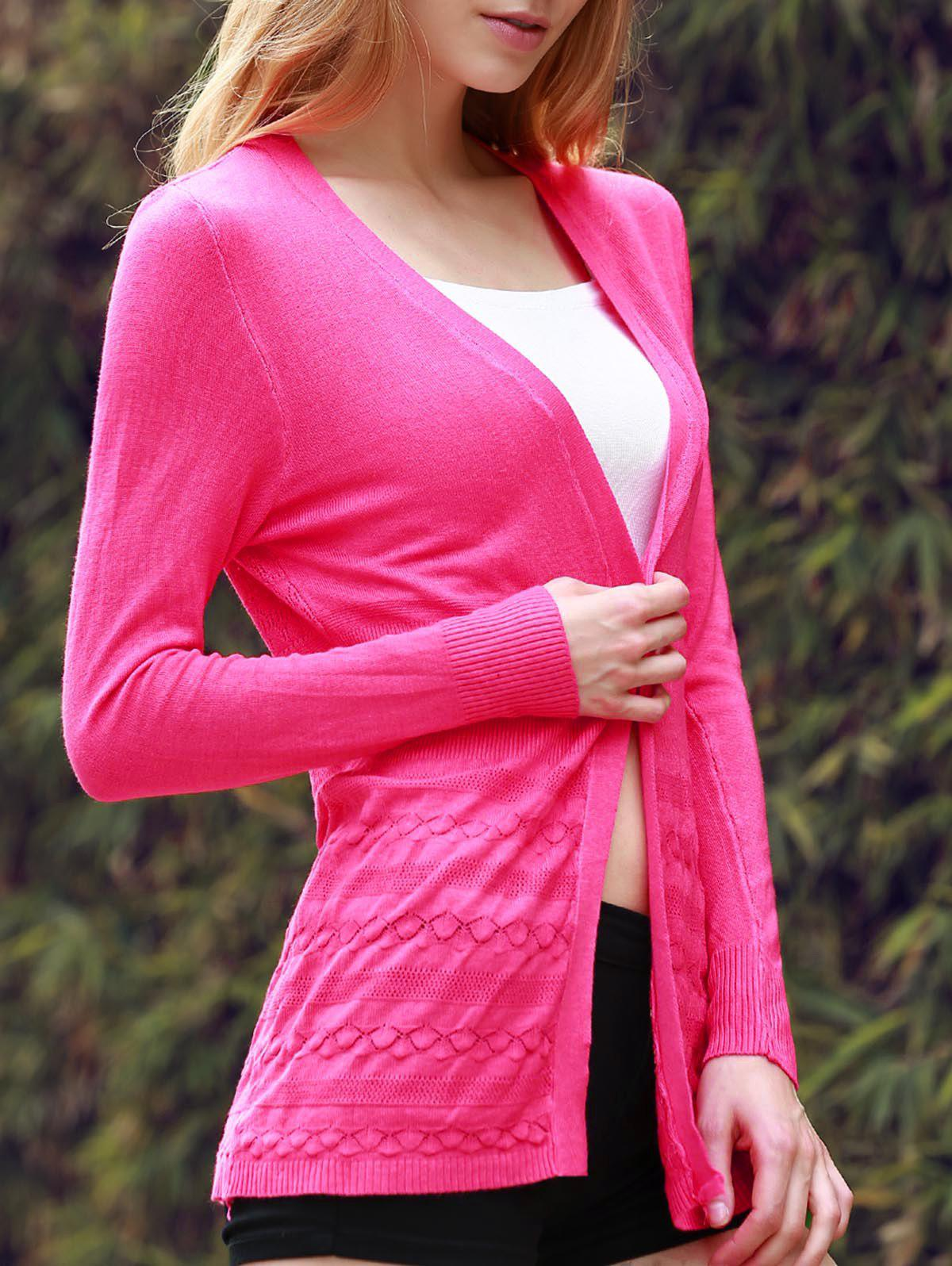 Open Front Cardigan - WATERMELON RED ONE SIZE(FIT SIZE XS TO M)