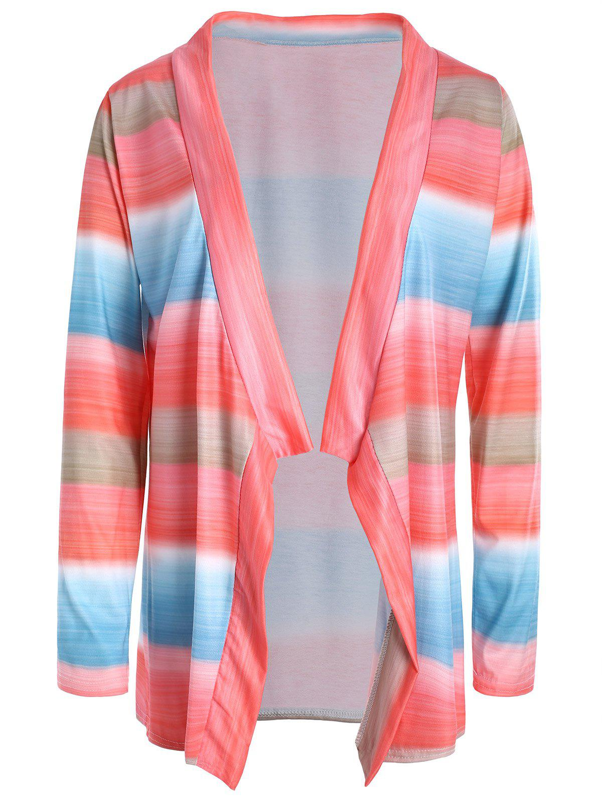 Stylish Collarless Long Sleeve Asymmetrical Color Block Women's Cardigan 152563803
