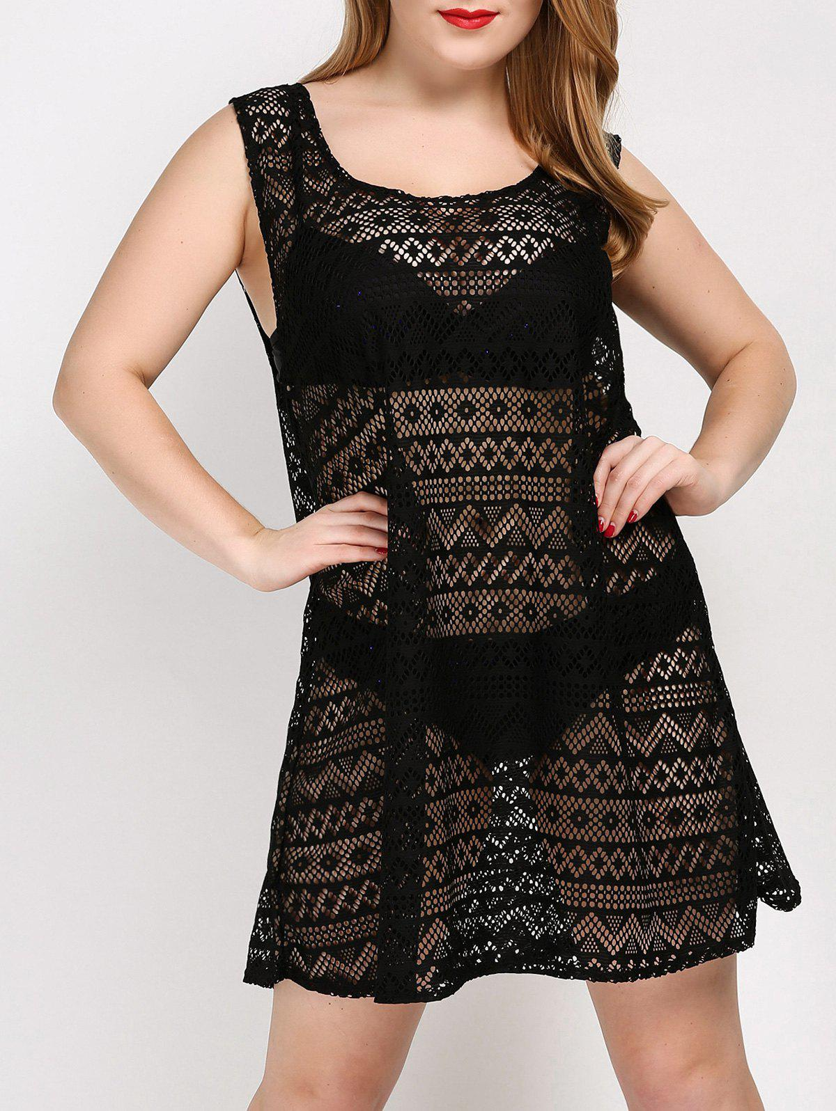 Plus Size See Thru Cover Up Dress - BLACK ONE SIZE