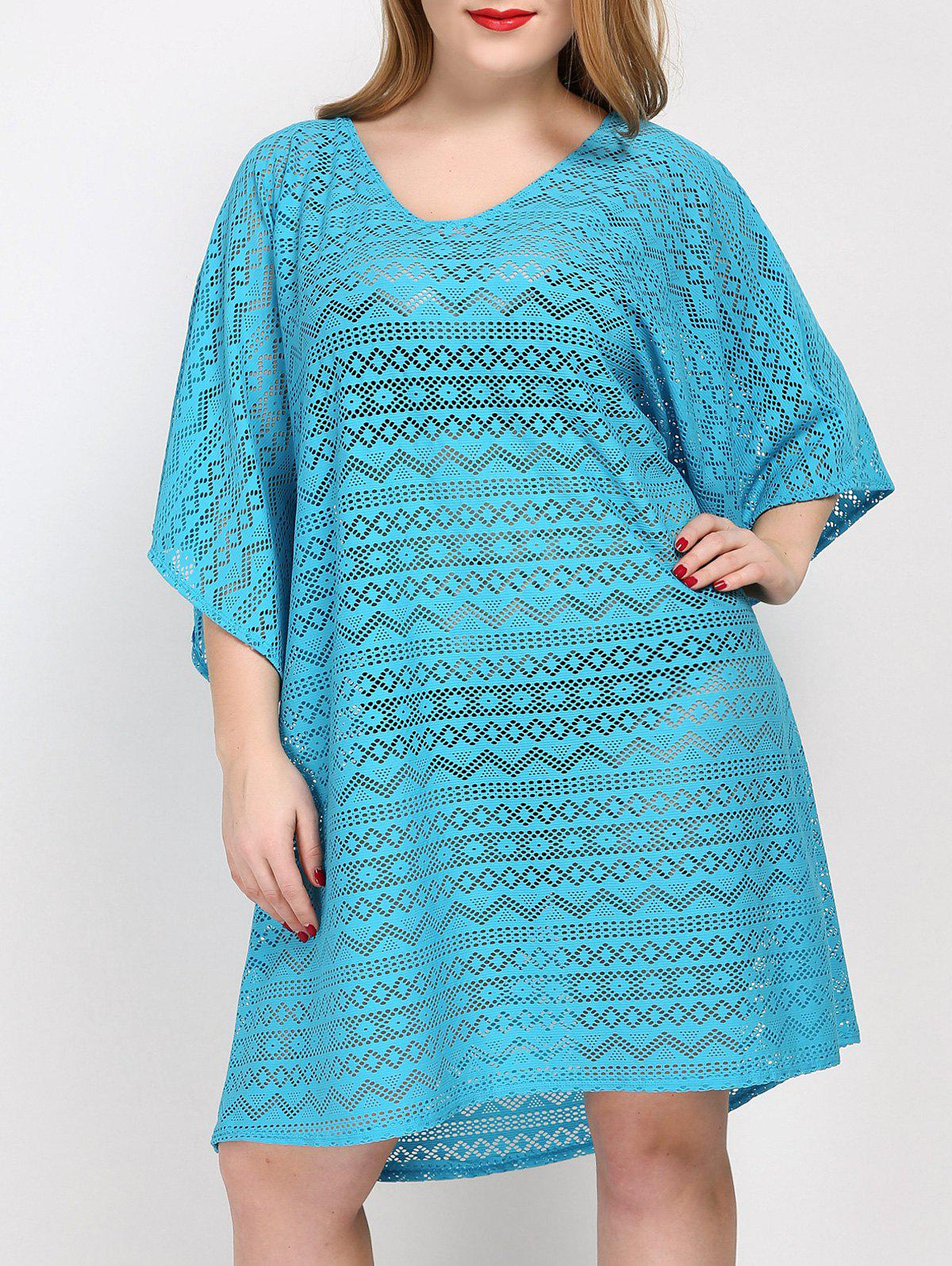 Plus Size Backless Cover Up Dress - LAKE BLUE ONE SIZE