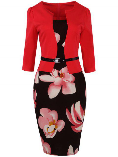 9d6c2dde9ab7 2019 Floral Knee Length Pencil Fitted Work Dress In RED M ...