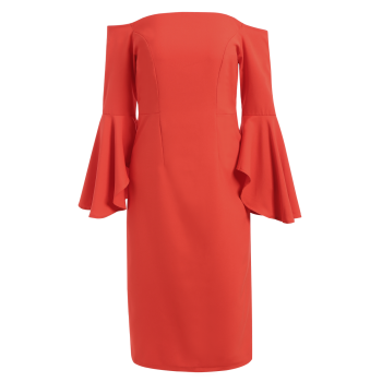 Lantern Sleeve Off The Shoulder Pencil Dress - RED RED