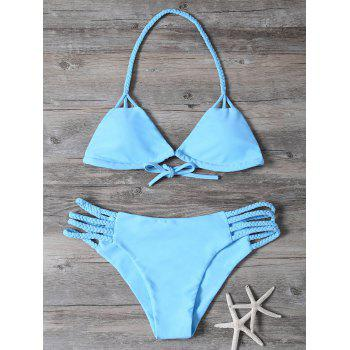Braided Cutout Halter Bikini Set