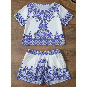 Short Sleeve Retro Floral Print T-Shirt and Shorts Set