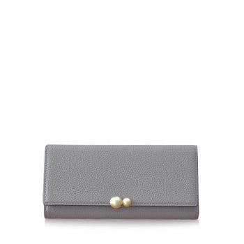 Tri Fold Textured PU Leather Wallet - GRAY GRAY