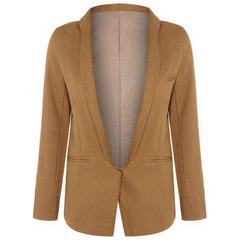 Long Front Pockets Blazer - BROWN BROWN