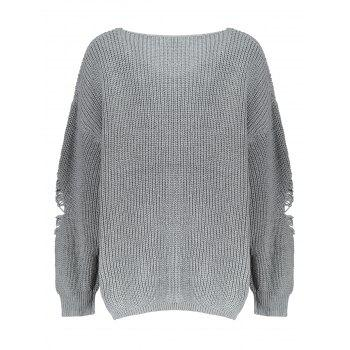 Distressed Plus Size Sweater - GRAY GRAY