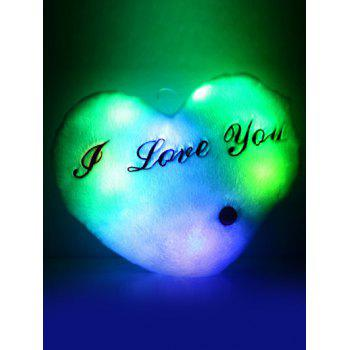 Buy Love Heart Shape Variable Color Luminescence Pillow LIGHT BLUE