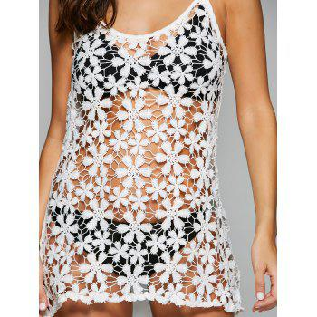 Sexy Spaghetti Strap Asymmetrical Cut Out Women's Cover Up - WHITE L