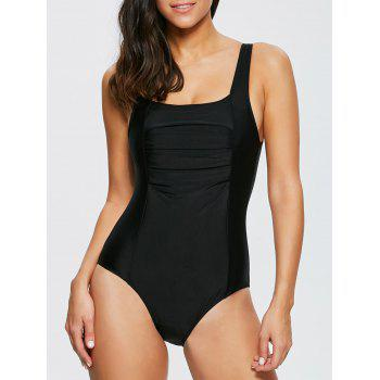 Sexy Square Neck Sleeveless One Piece Solid Color Women's Swimwear - BLACK BLACK