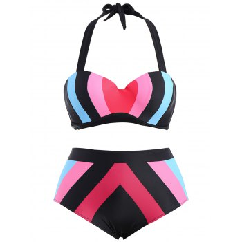 High Waisted Contrast Plus Size Bikini Set - BLUE AND PINK 3XL