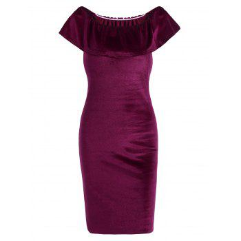 Flounce Off The Shoulder Velvet Mini Bodycon Dress
