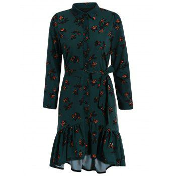 Button Up Floral Flounce Mermaid Casual Dress Fall