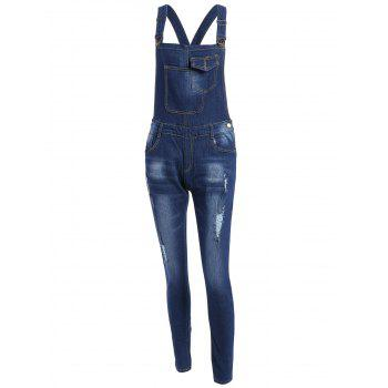 Distressed Denim Overalls with Pockets