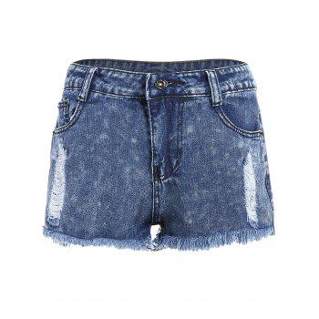 Ripped High Waisted Jeans Shorts