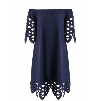 Openwork Off-The-Shoulder Shift Dress