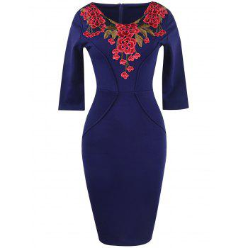 Floral Embroidery Openwork Sheath Dress