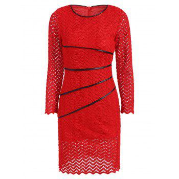 Lace Pencil Sheath Dress with Sleeves