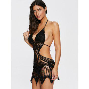 Alluring Halter Solid Color Hollow Out One-Piece Knitted Women's Swimwear - BLACK L