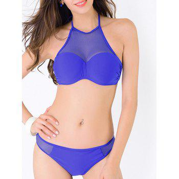 Mesh Panel Sheer Halter Bikini Set