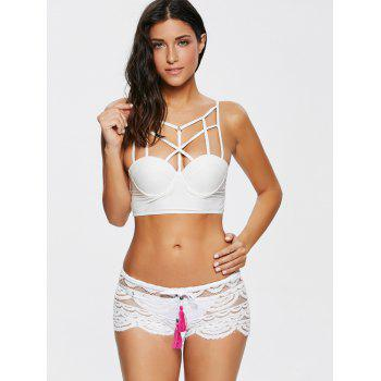 Sexy Hollow Out Lace Women's Shorts - L L