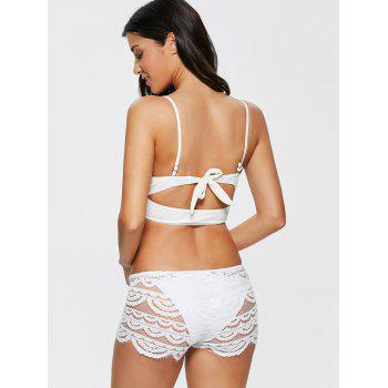Sexy Hollow Out Lace Women's Shorts - WHITE M