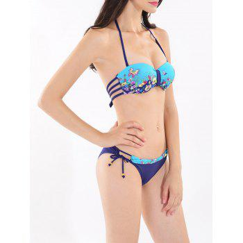 Strappy Floral Print Halter Bikini Set - LAKE BLUE M