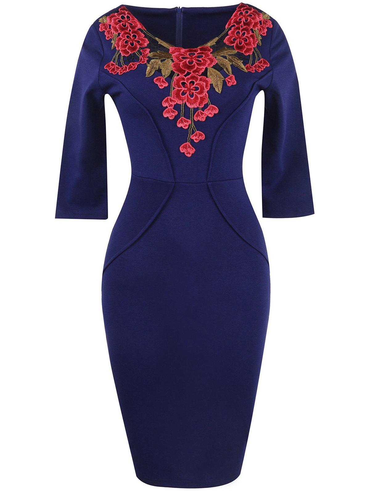 Floral Embroidery Openwork Sheath Dress floral lace sheath dress