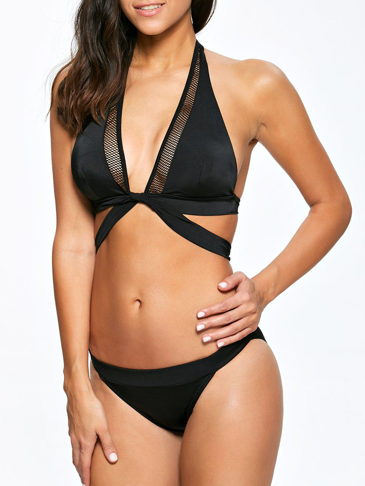Sexy Solid Color Hollow Out Bikini Set For Women - BLACK M